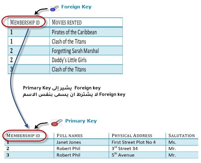 علاقة Primary Key و Foreign key