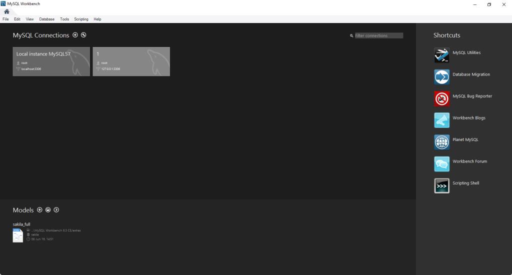 النافذة الرئيسية لبرنامج MySQL Workbench